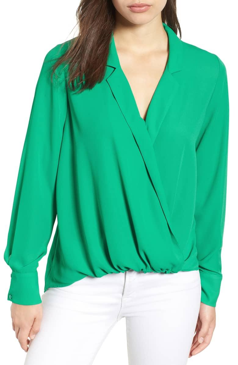 green wrap blouse