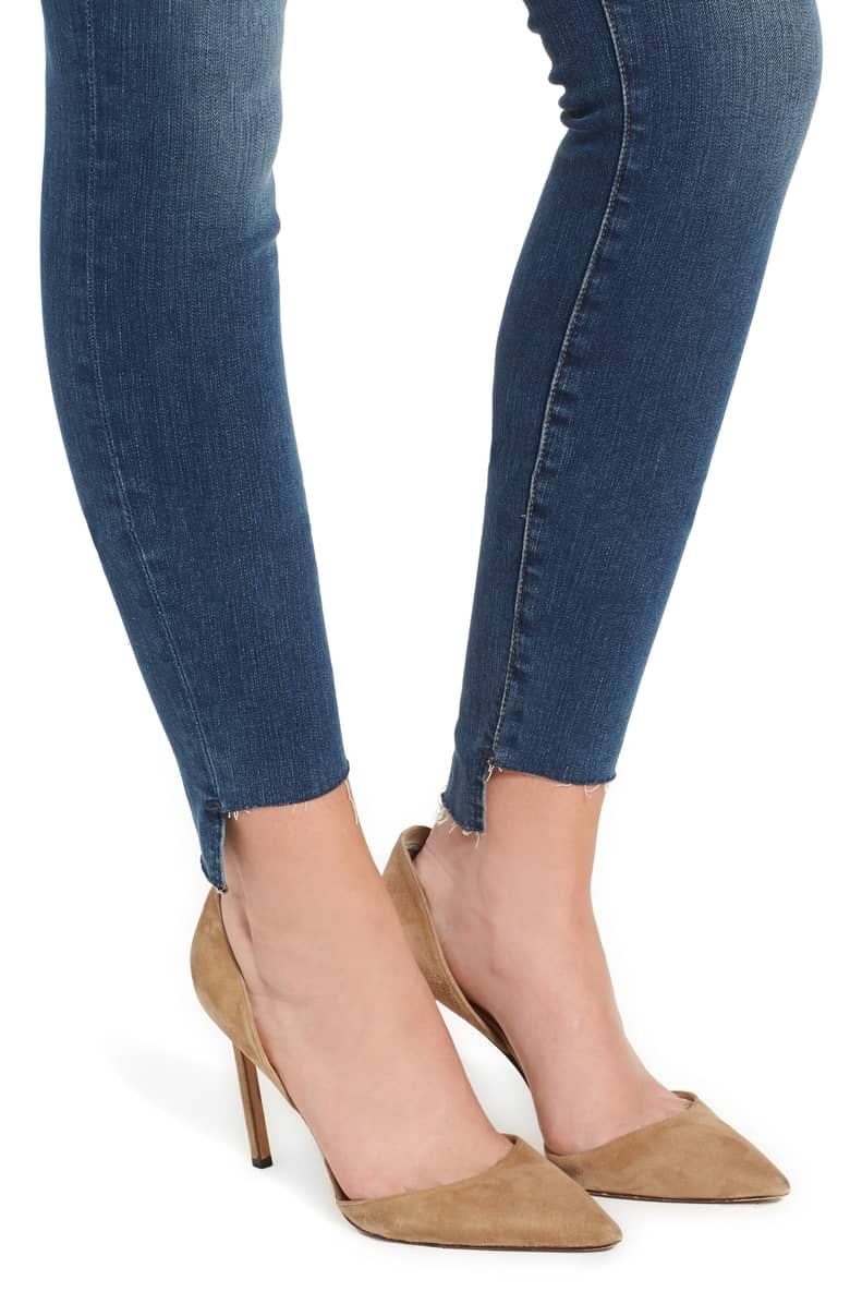 denim skinny jeans distressed hems