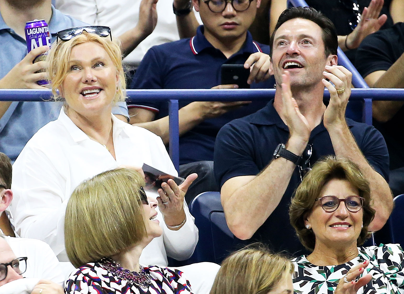 Hugh Jackman Deborra-lee Furness Us Open 2018 - The happily married pair clapped as they took in a game on August 28.