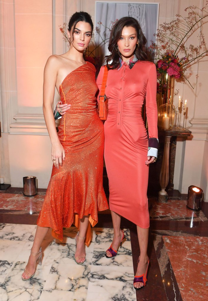 Bella Hadid And Kendall Jenner Wear Matching Dresses In Paris