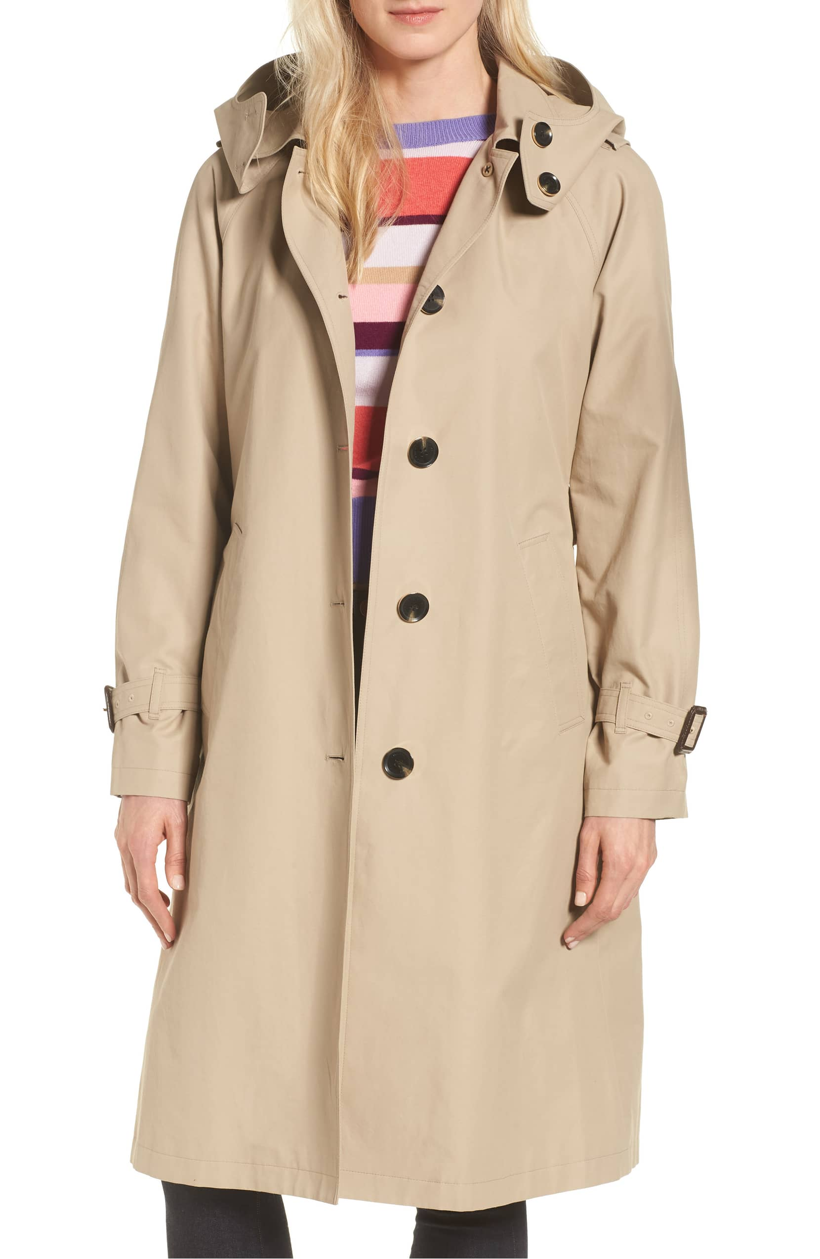 khaki trench coat hood