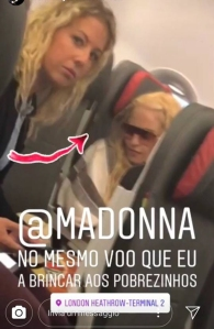 Madonna flies coach