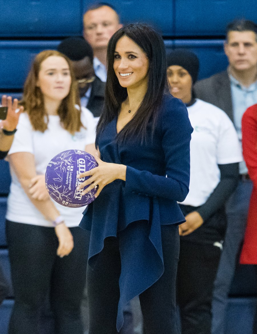 Megan Markle Plays Basketball in Oscar De La Renta and Heels at Royal Function With Prince Harry