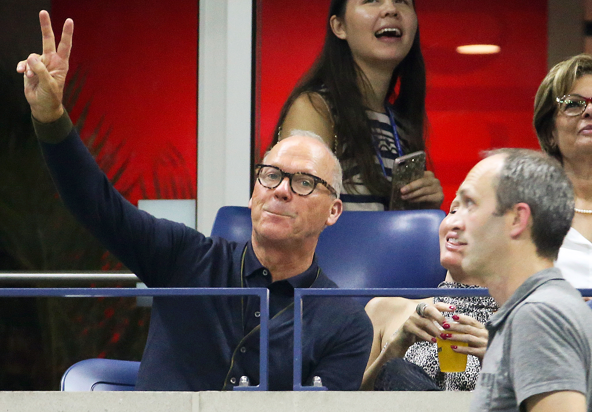 Michael Keaton Us Open 2018 - The Spider-Man: Homecoming actor appeared content as Williams claimed another victory in the quarterfinal on September 4.