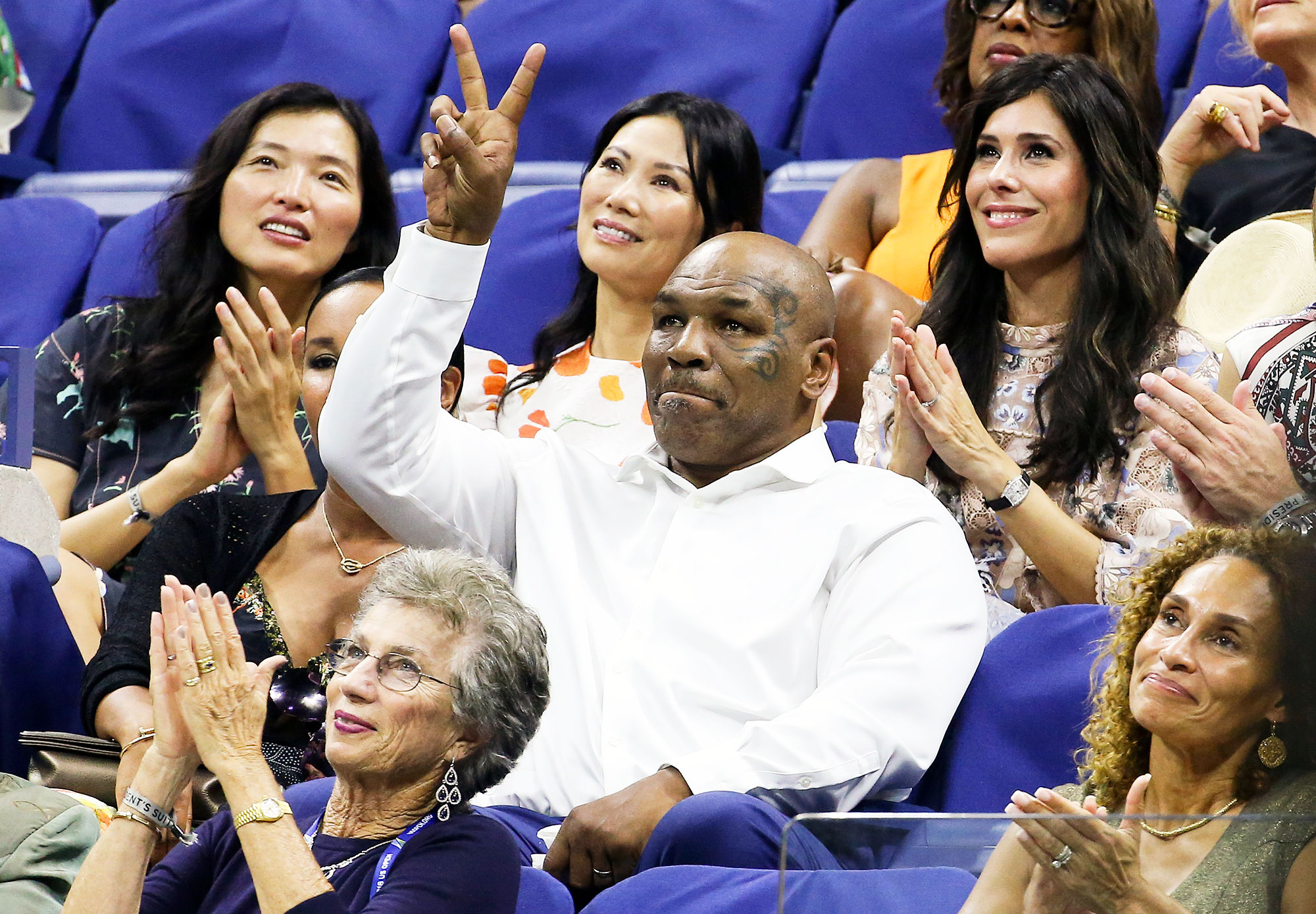 Mike Tyson Us Open 2018 - The boxer threw up a peace sign as he attended the opening night gala on August 27.