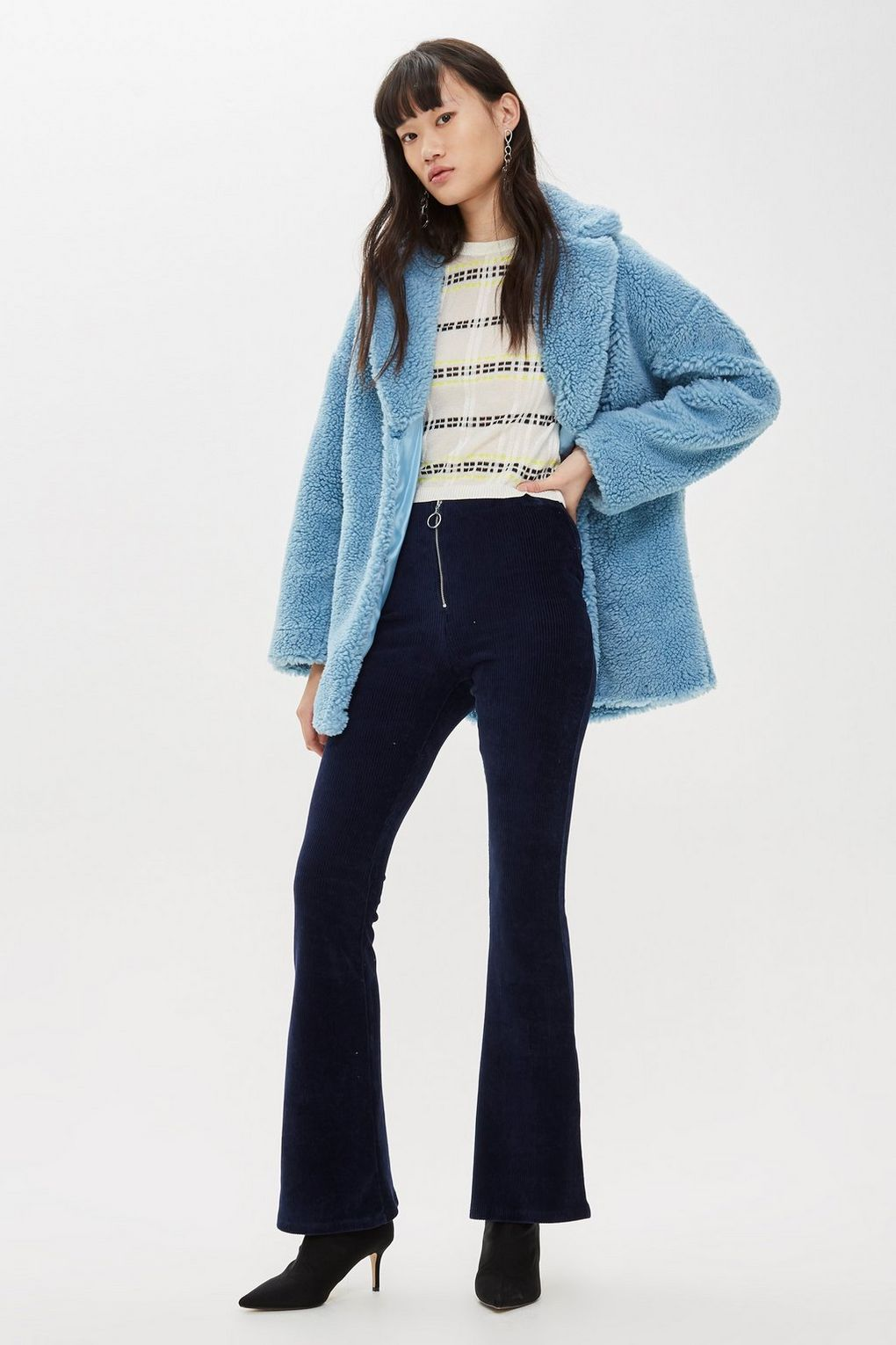 navy corduroy flared wide legged pants topshop