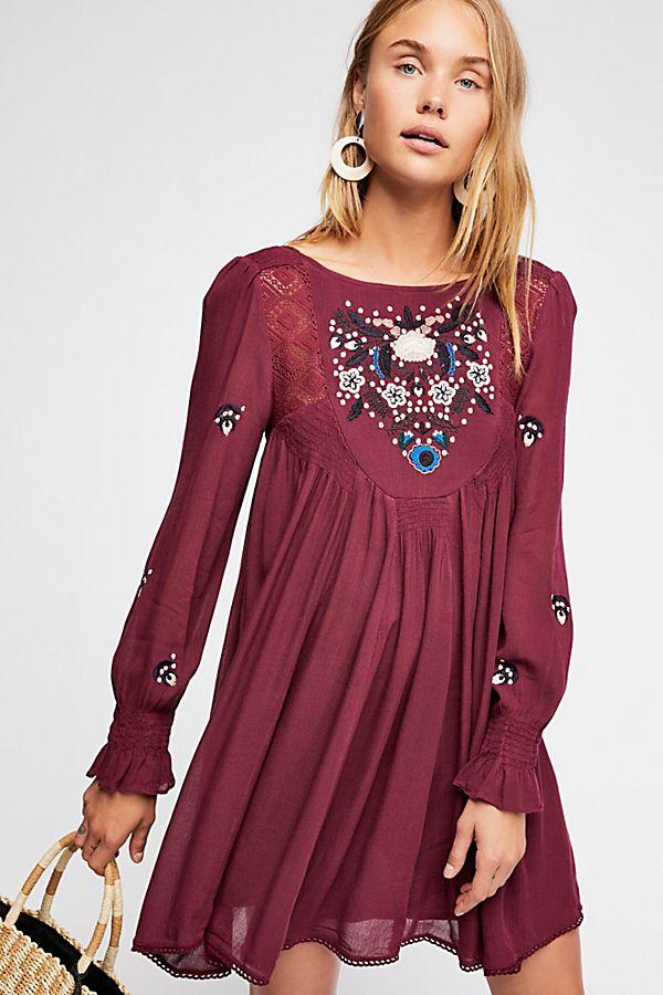 plum boho chic swingy dress
