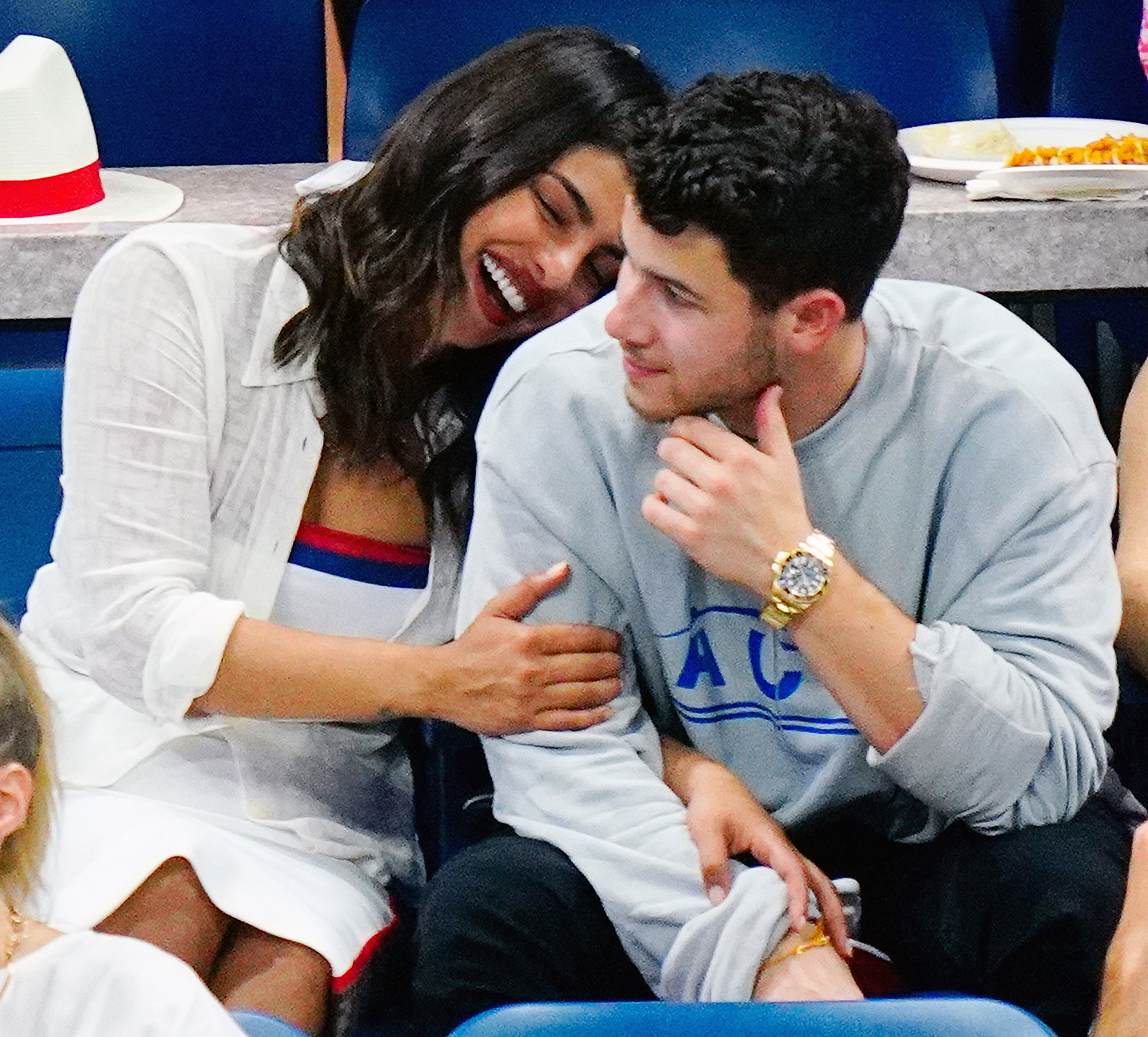 Nick Jonas Priyanka Chopra Us Open 2018 - The couple — who got engaged in July after two months of dating — shared a heartwarming moment as the Quantico alum cuddled up to her fiancé on September 4.