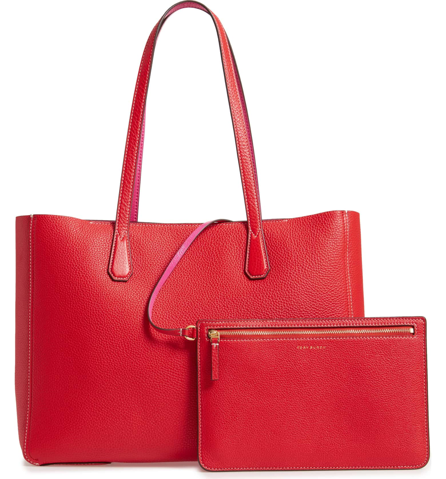 red pebble leather tote tory burch