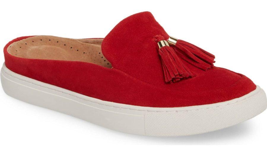 red sneaker mule