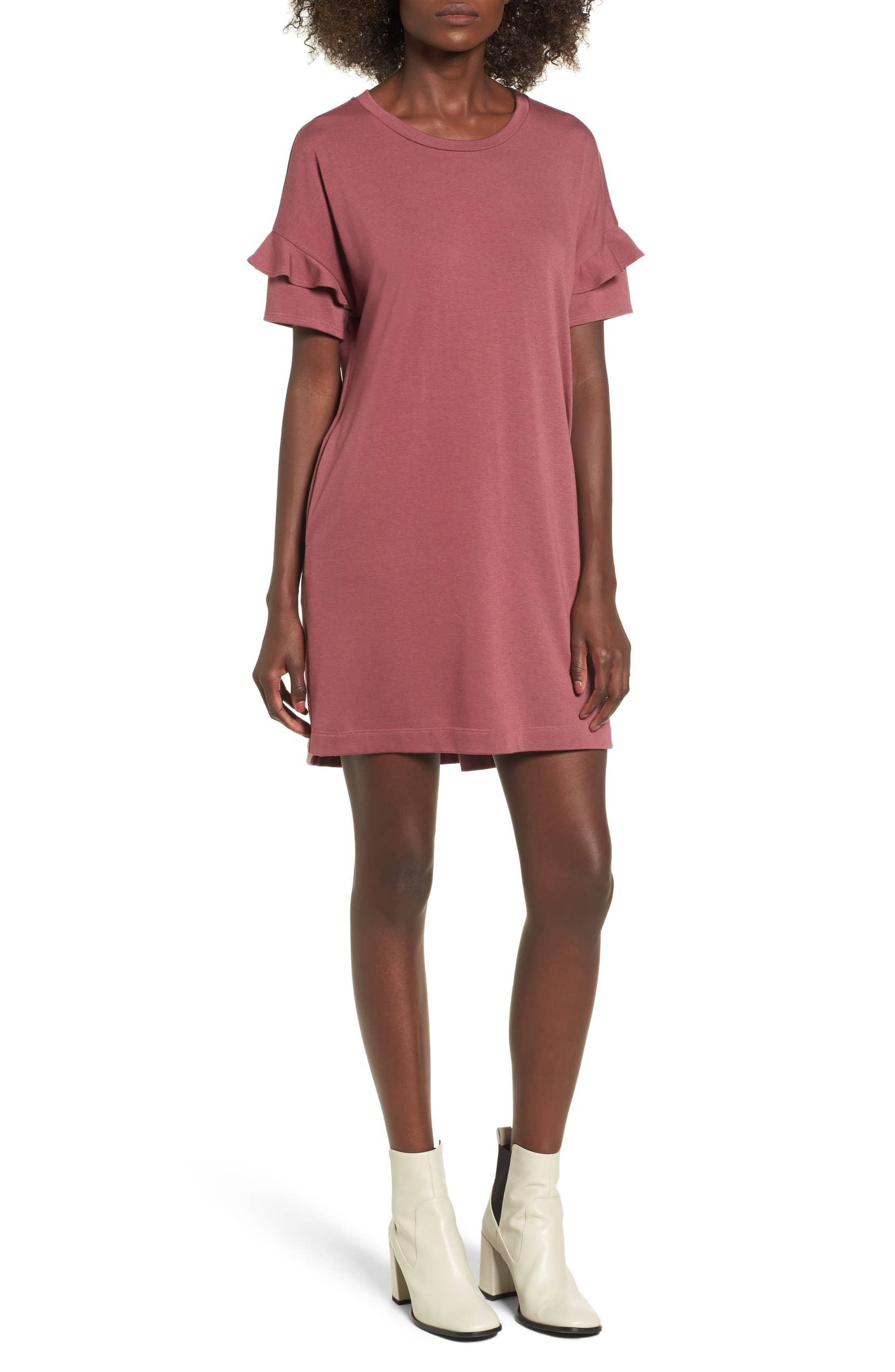 ruffle sleeve t shirt dress