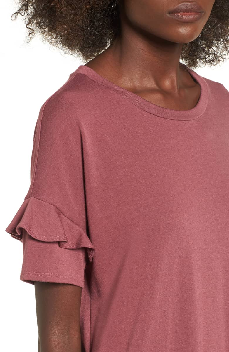 ruffles sleeves t shirt dress