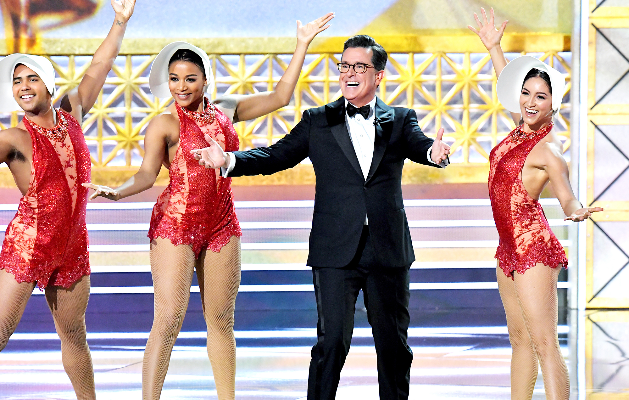 Stephen Colbert Emmys Awards Host 2017 - Host Stephen Colbert (2nd from R) performs onstage during the 69th Annual Primetime Emmy Awards at Microsoft Theater on September 17, 2017 in Los Angeles, California.