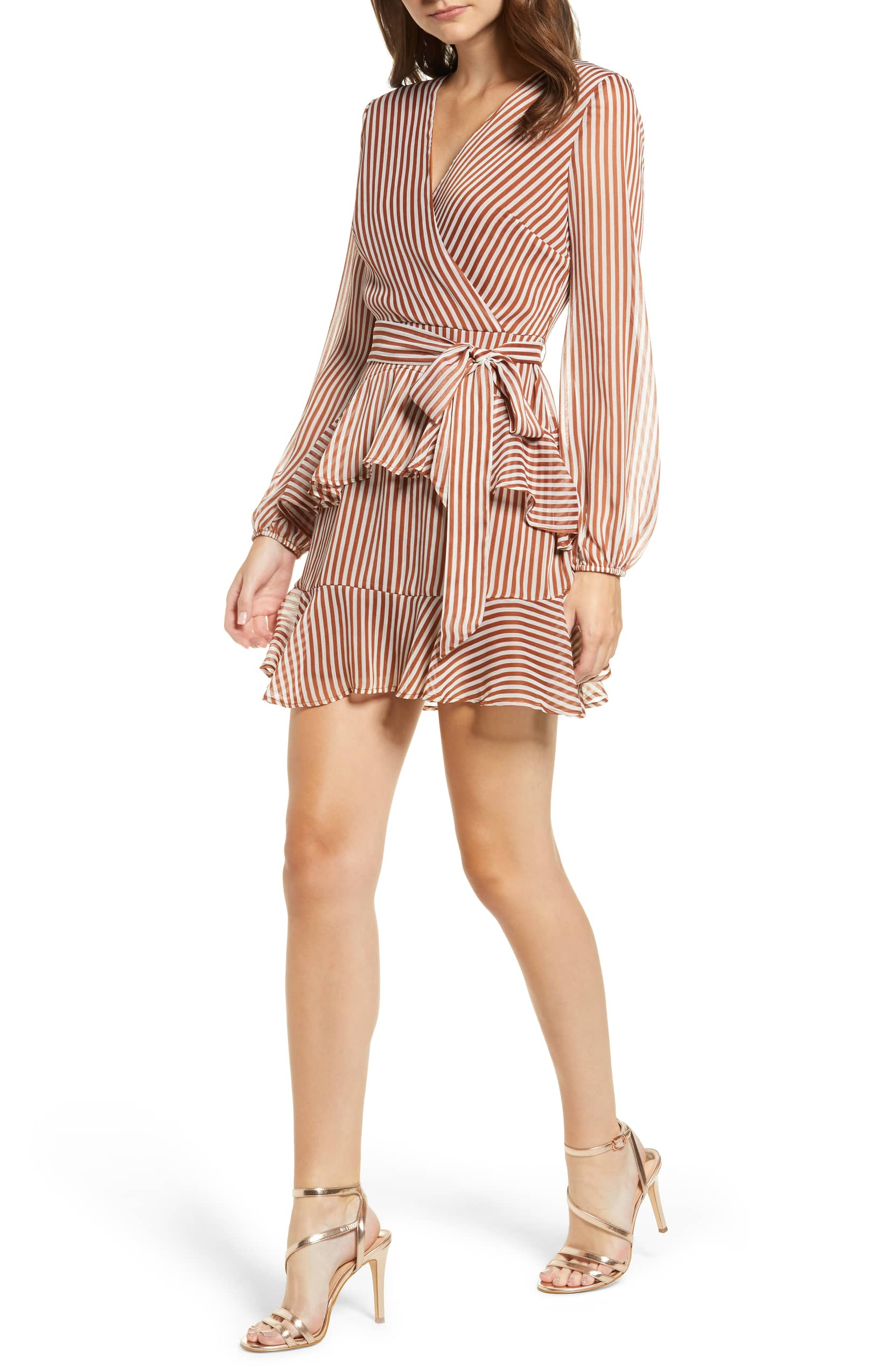 2935f24aa07 Your Date Night Style Woes Are a Wrap With This Flirty Ruffle Dress ...