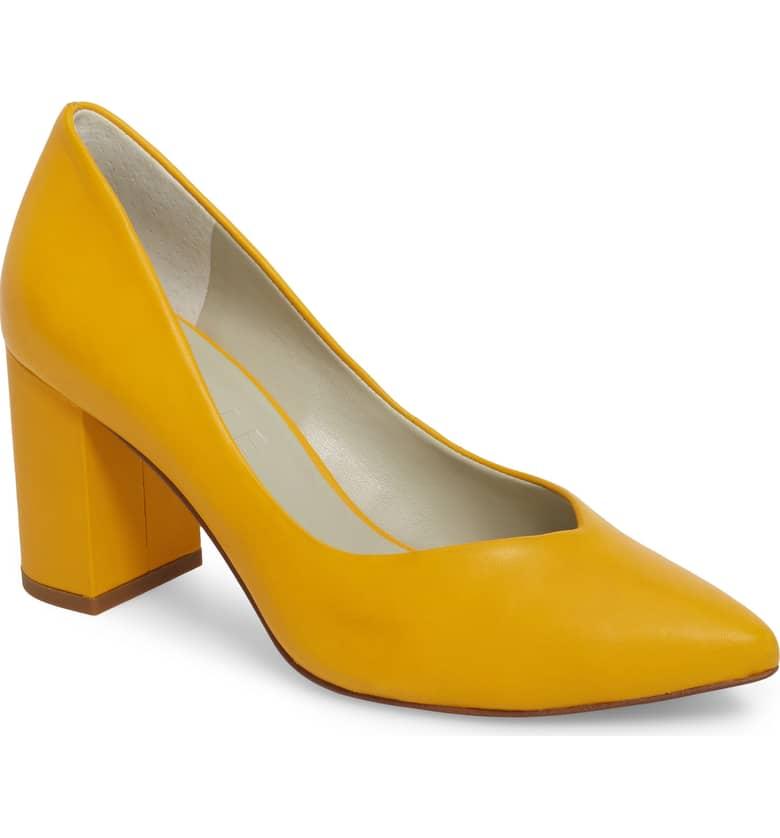 1 state saffy block heel pump yellow