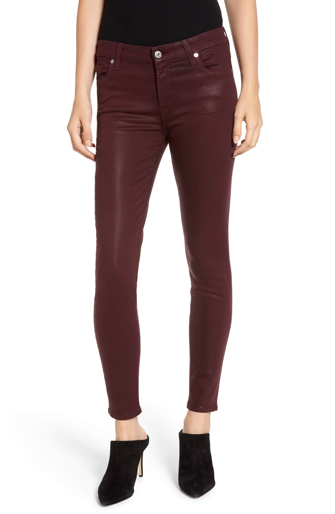 7 for all mankind plum coated skinny jeans