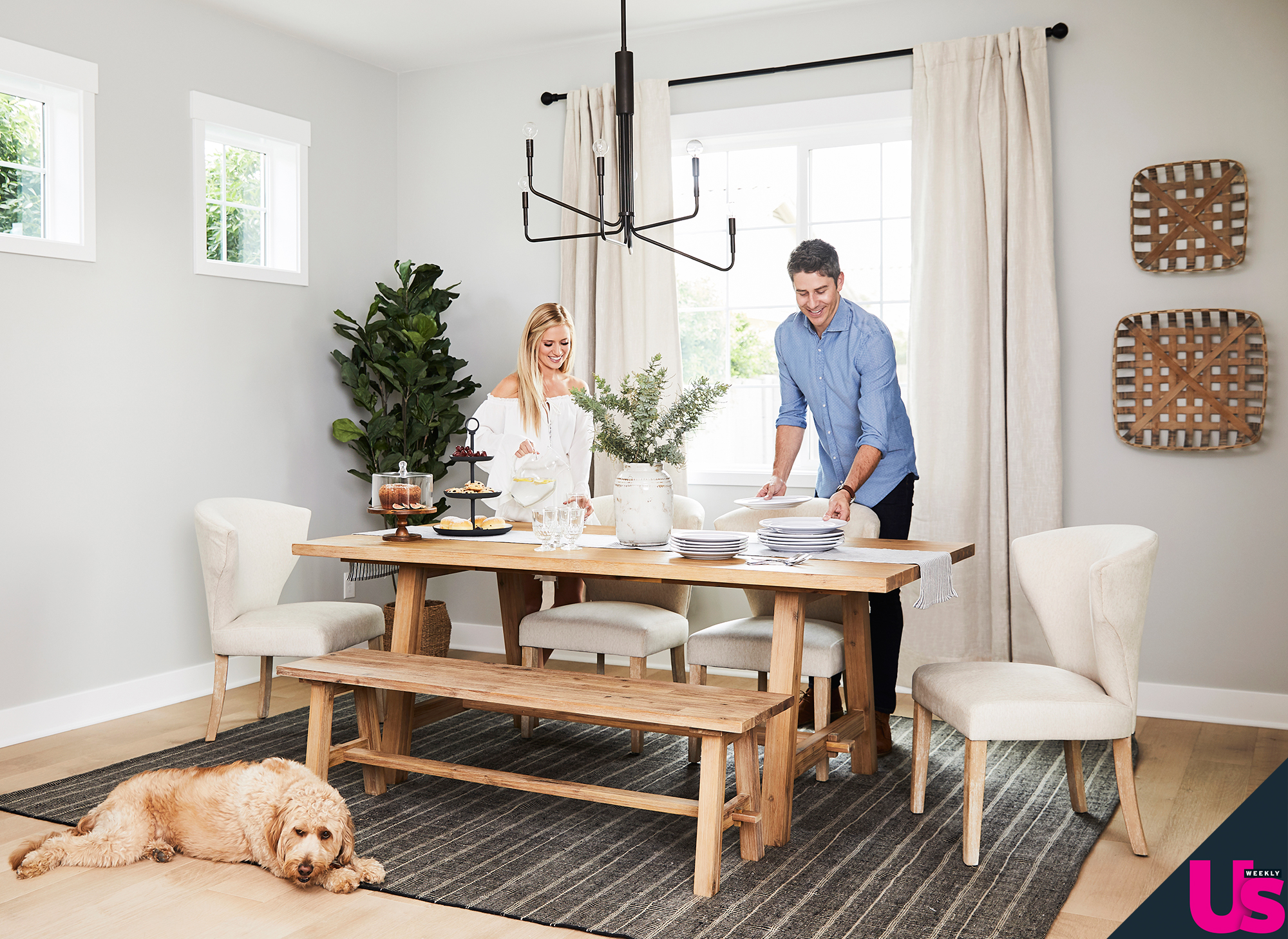 """Arie Luyendyk Jr Lauren Burnham New Home - """"We chose a beautiful birch farmhouse table. To make it a little more formal, we paired it with more traditional style chairs,"""" the Bachelor season 22 lead tells Us . """"The rug we selected for underneath the table is a bit darker than everything else in that room to add some contrast."""""""