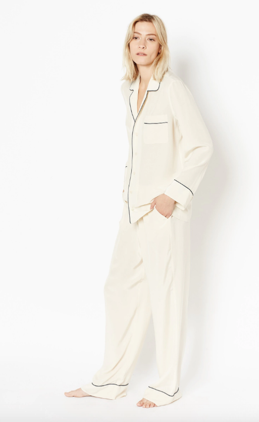 Avery Silk Pajama Set in Nature White