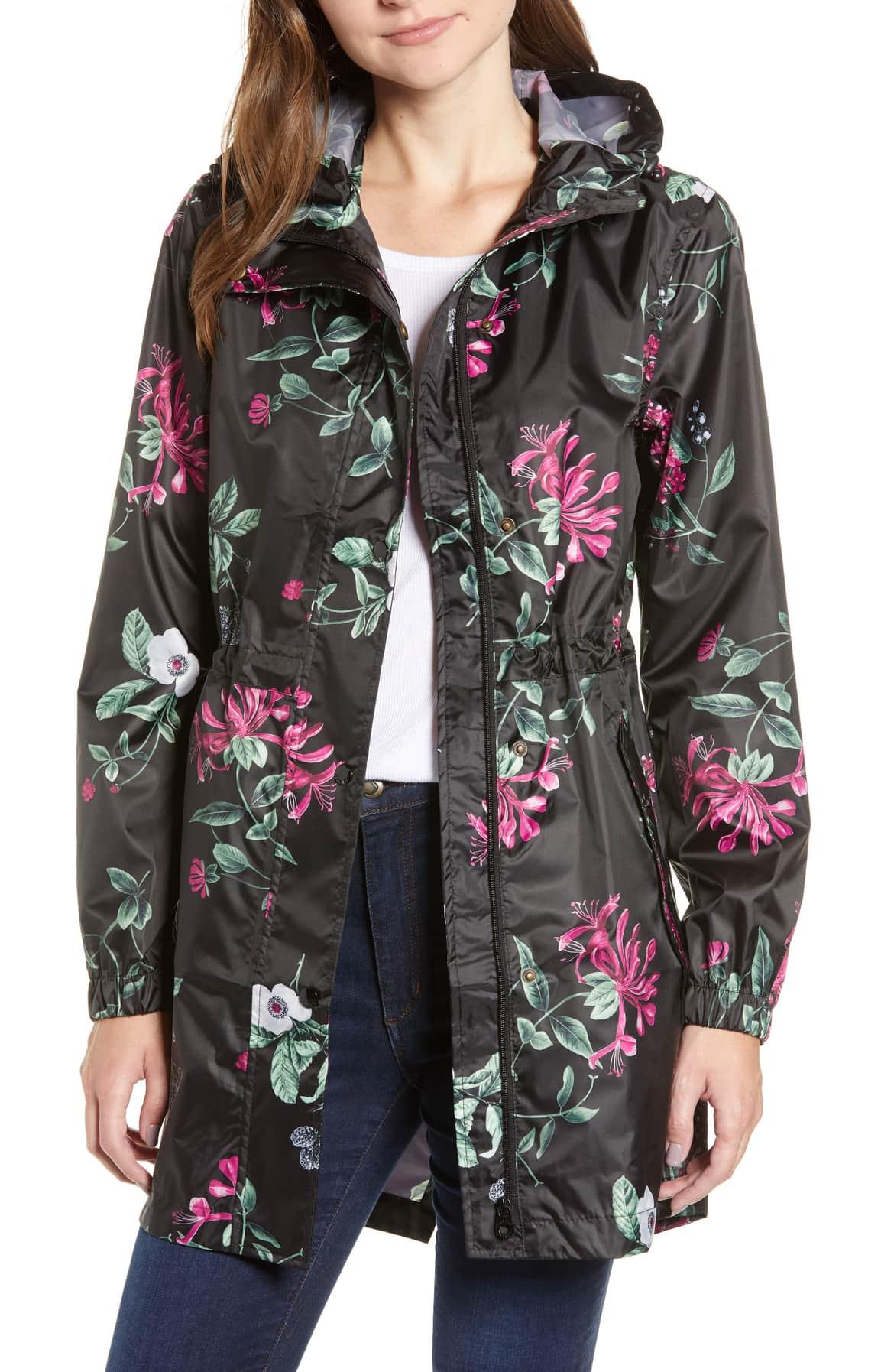 Black Hedgerow floral print hooded raincoat nordstrom
