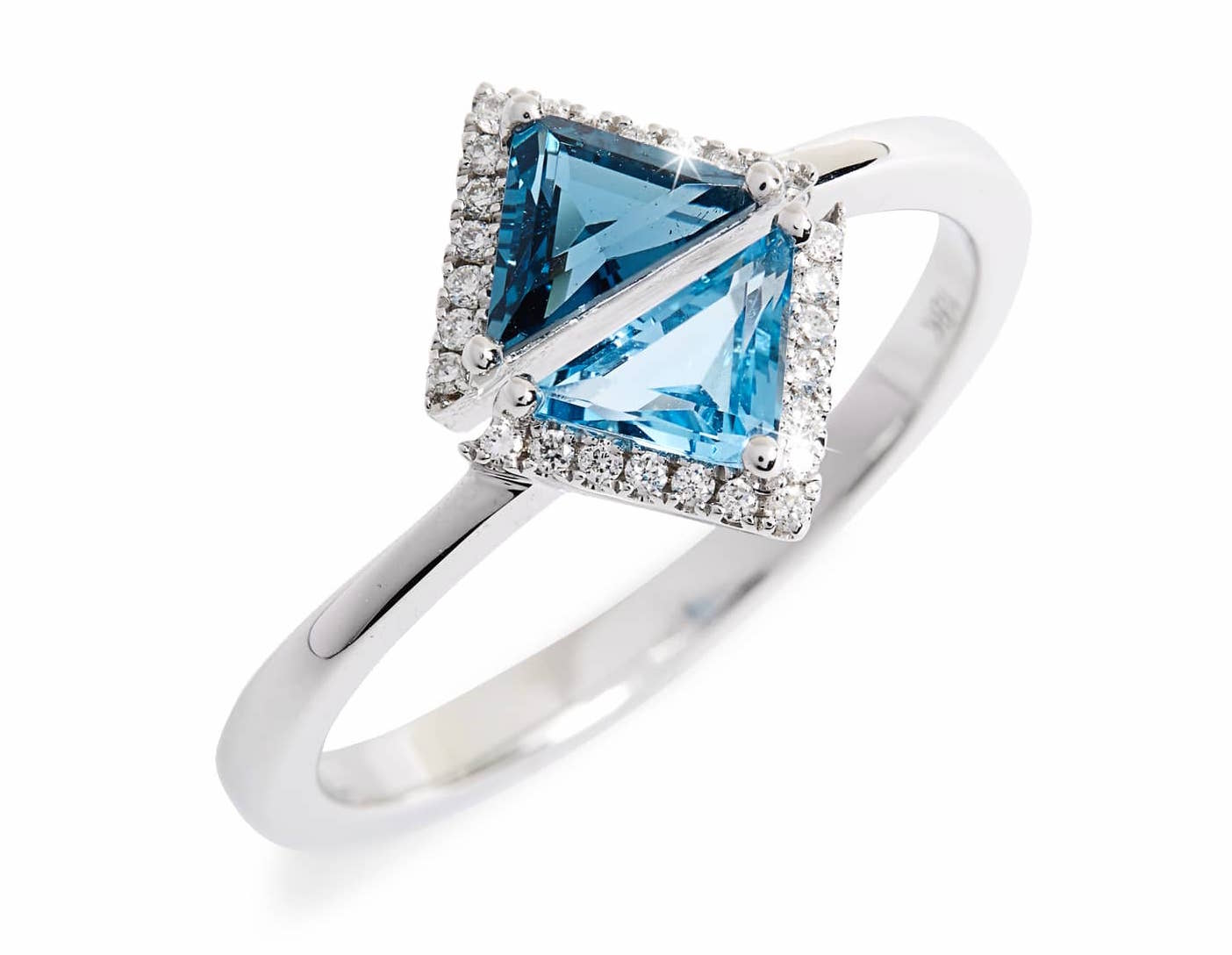 Bony Levy Iris Double Triangle Diamond & Semiprecious Stone Ring