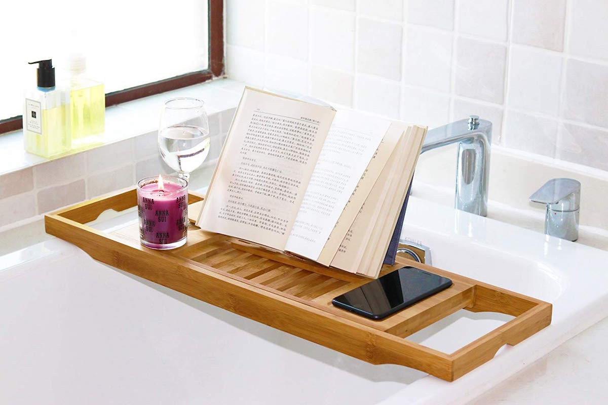 DOZYANT Bamboo Bathtub Caddy Tray Wooden Bath Tray Table