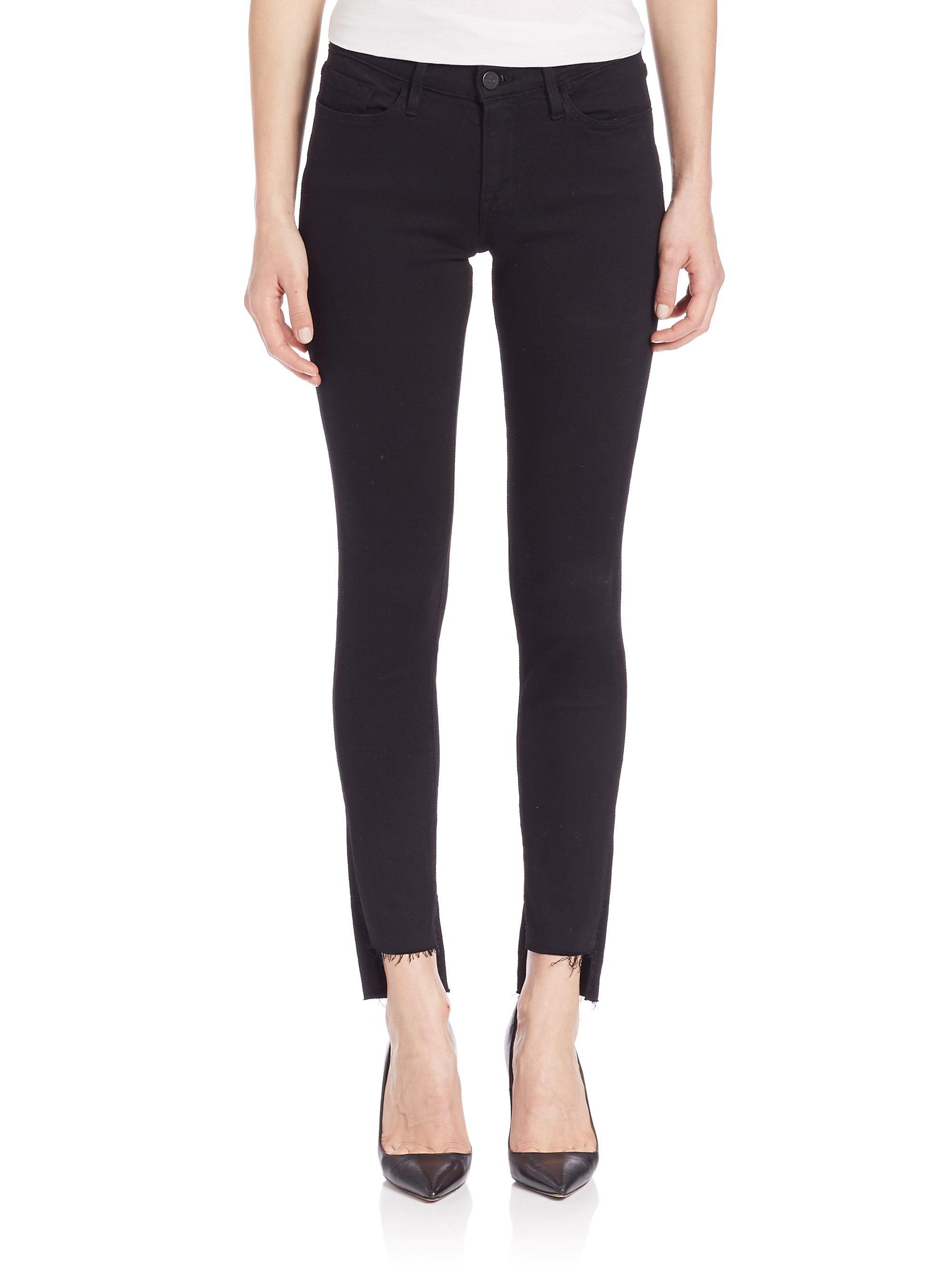 Frame Le Skinny De Jeanne Raw-Edge Step Hem Jeans