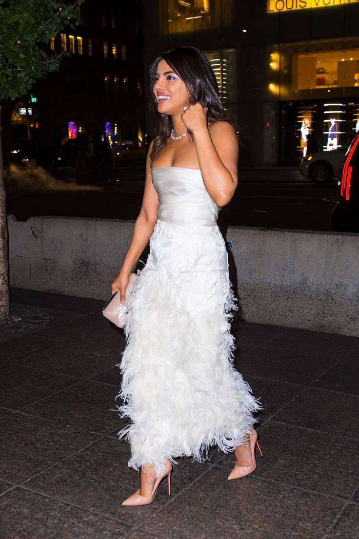 Priyanka Chopra wears Marchesa to her bridal shower at Tiffany's Blue Box Cafe in NYC on October 28, 2018.