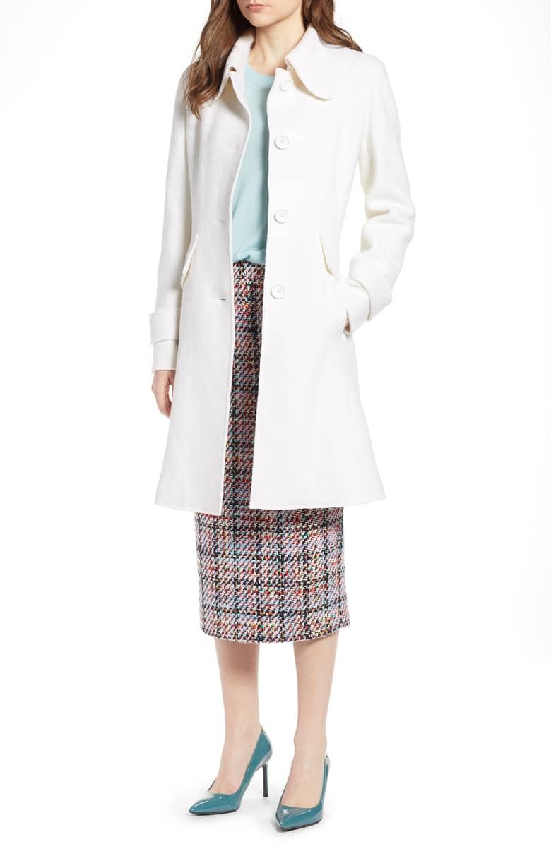 Halogen Boiled Wool Blend Fit & Flare Coat