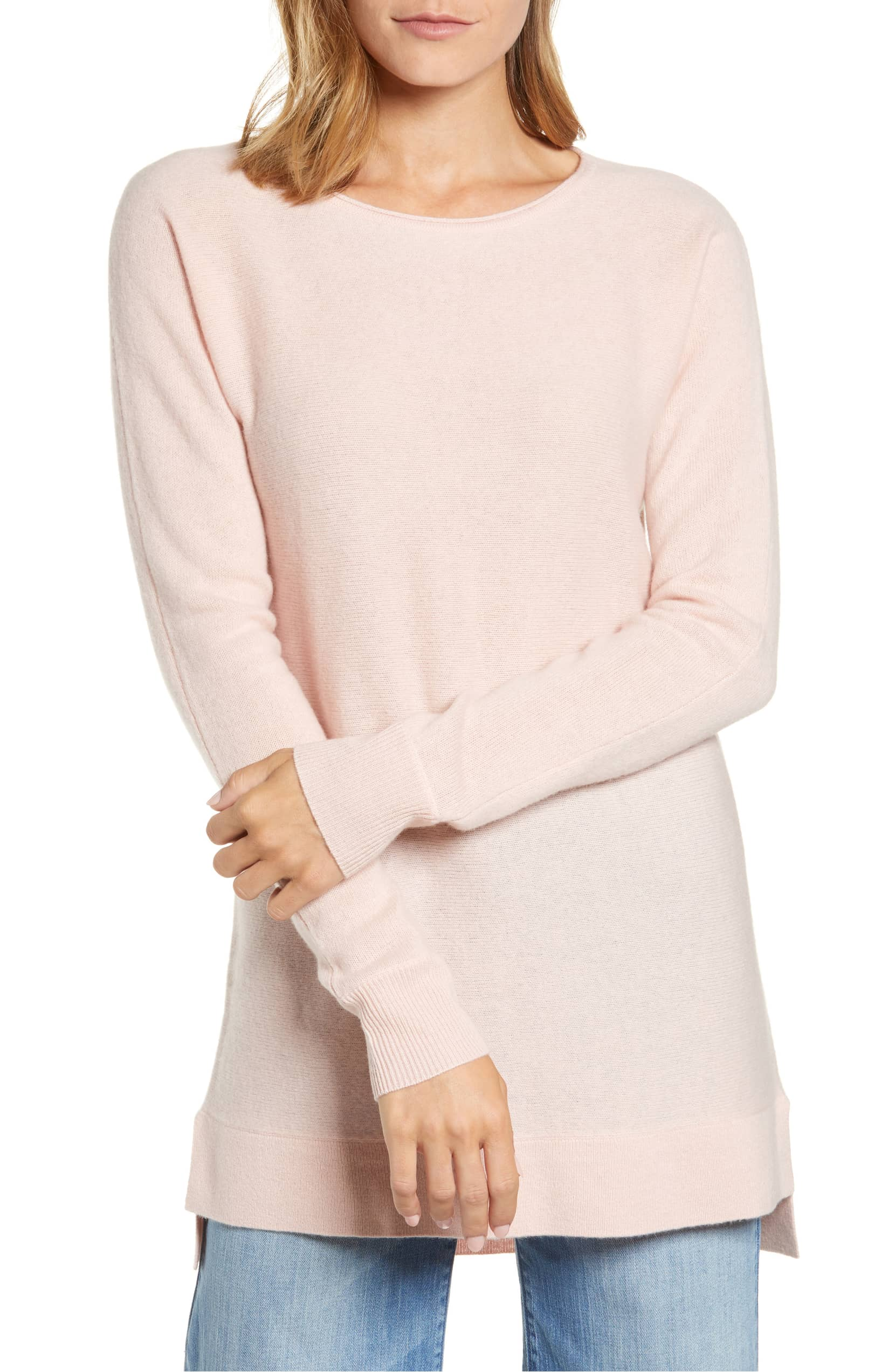 Halogen High-Low Wool & Cashmere Tunic Sweater