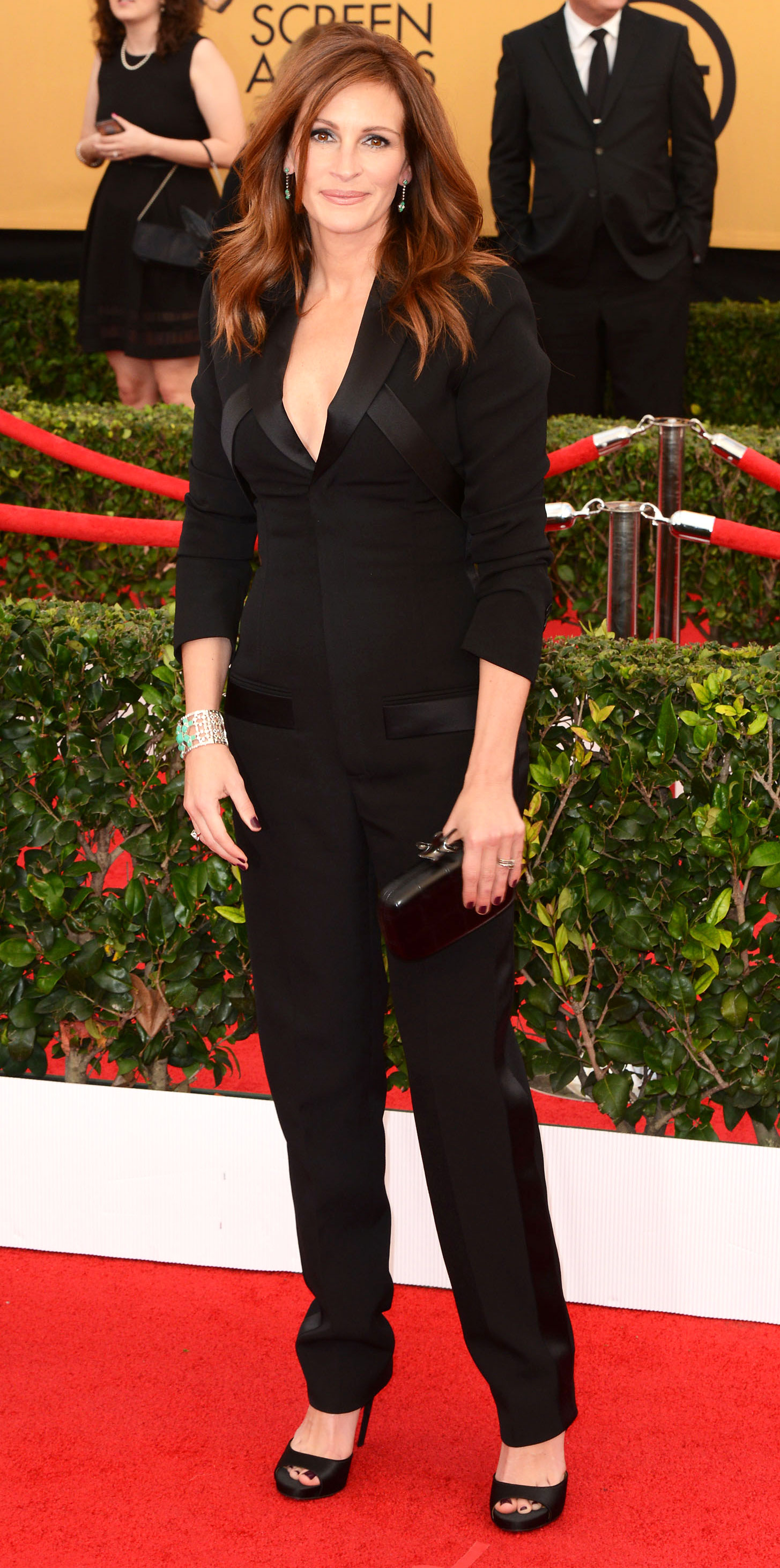 Julia-Roberts - We all know Roberts loves a good tux, and this Givenchy jumpsuit at the 2015 SAG Awards is a modern take on the menswear staple.