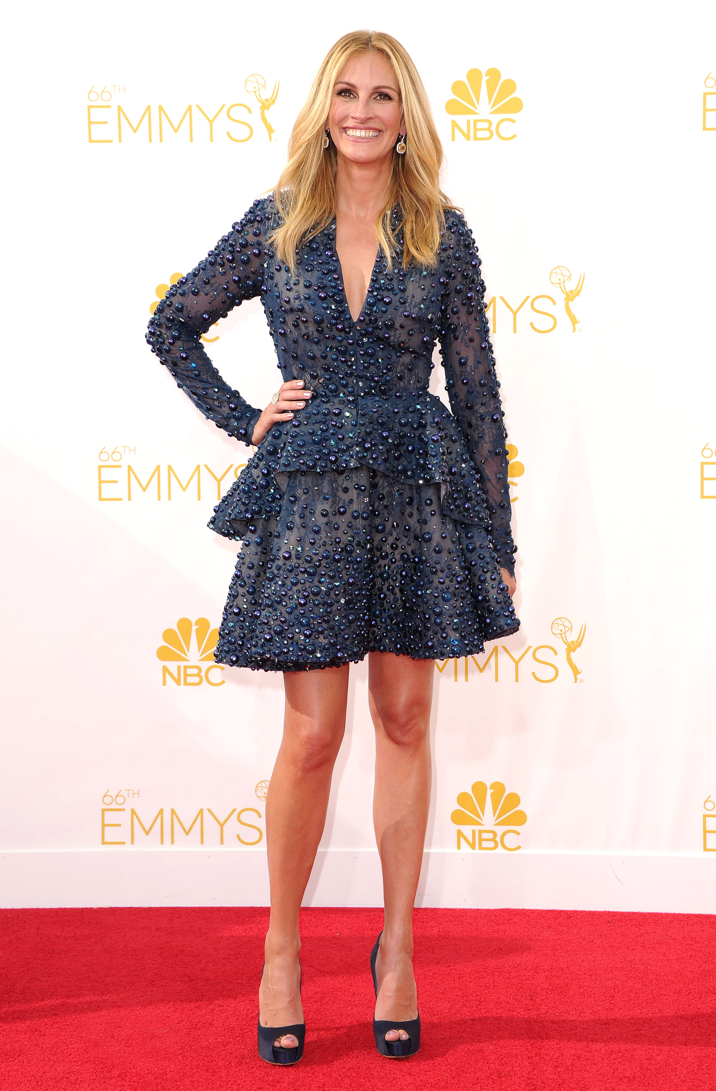 Julia Roberts - In one of her most whimsical red carpet moments, the actress rocked an embellished Elie Saab mini at the 2014 Emmys.