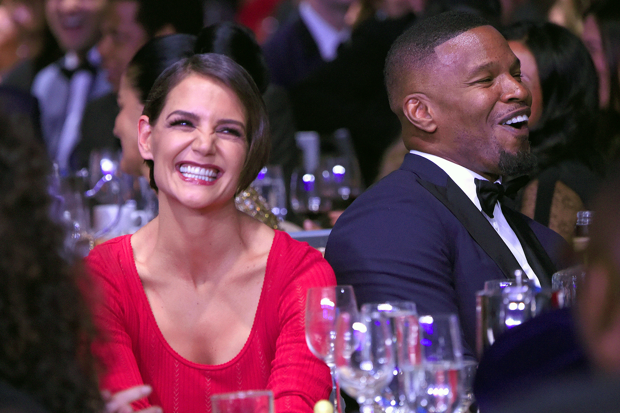 Katie Holmes, Jamie Foxx, Lumiere De Vie Hommes Launch Event, Superyacht Utopia IV - Katie Holmes and Jamie Foxx attend the Clive Davis and Recording Academy Pre-GRAMMY Gala on January 27, 2018 in New York City.