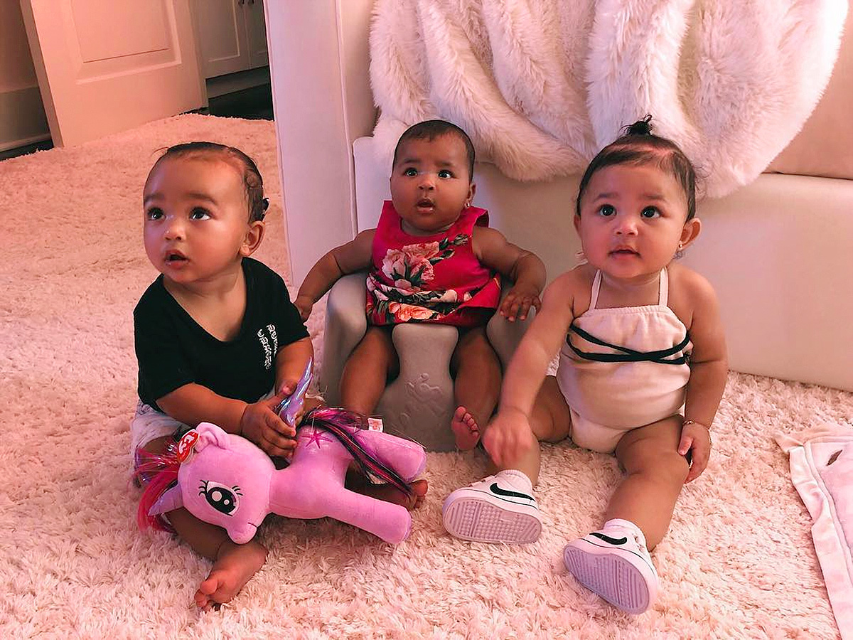 "Kim Kardashian West, Khloe Kardashian, Kylie Jenner, Triplets - Kim gave fans the first ""triplet"" pic of her daughter, Chicago, alongside her cousins Stormi and True, on Instagram in September 2018, which showed the three babes gazing up adoringly at the camera."