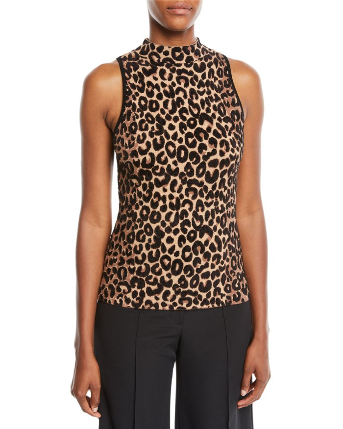 Milly Leopard High Neck Top