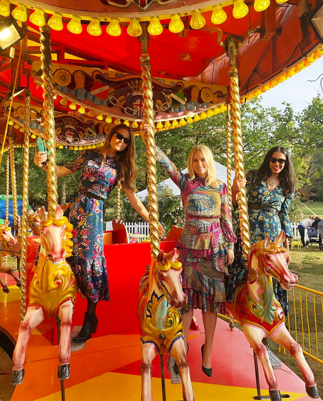 Princess Eugenie, Jack Brooksbank, Wedding - Hotel heiress Irene Forte , TV presenter Marissa Montgomery and designer Saloni Lodha jumped on the colorful carousel at the fairground-themed celebration on Saturday.