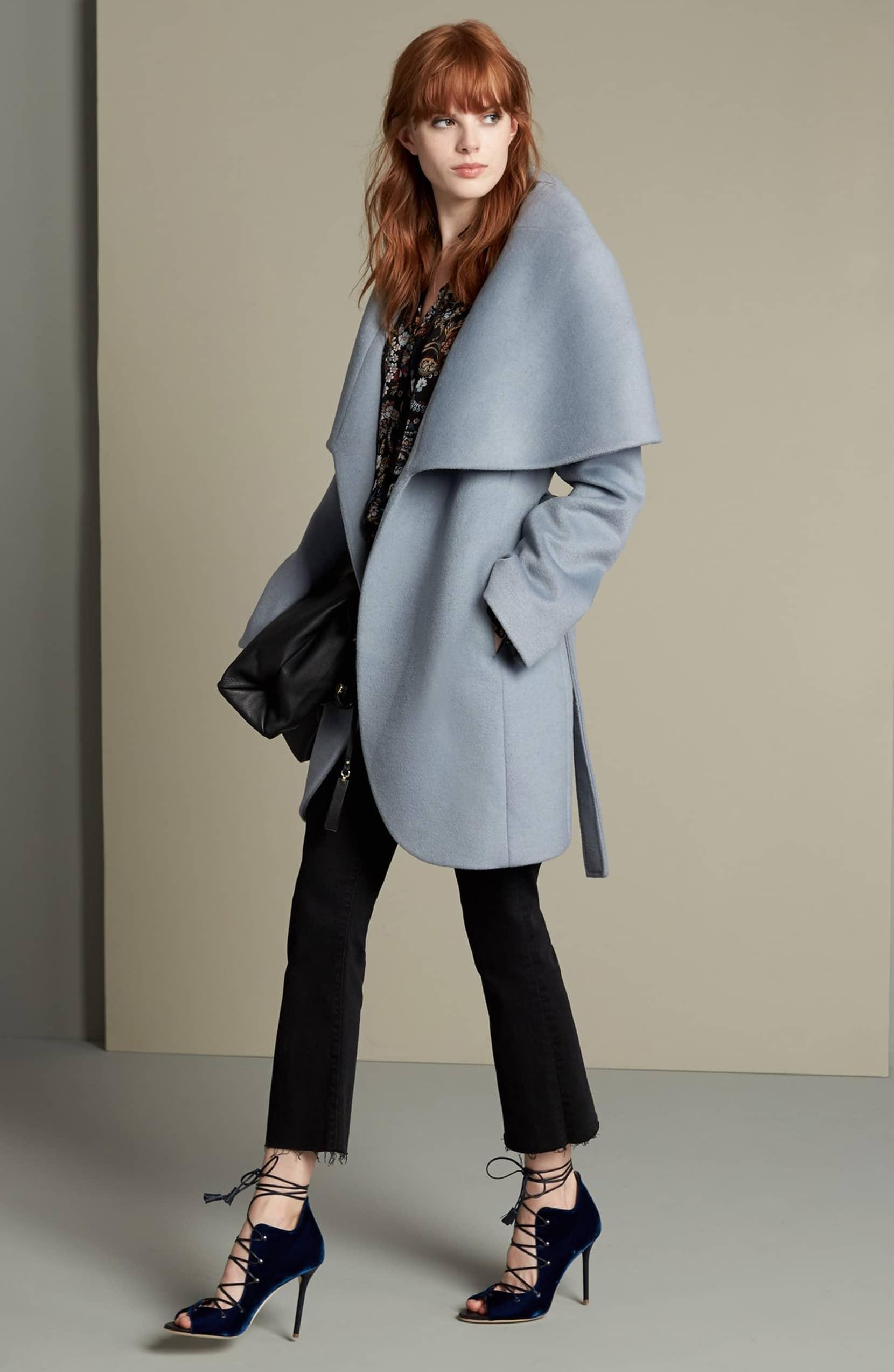 Tahari Wool Blend Belted Wrap Coat