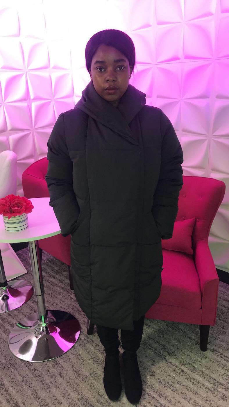 Tatayana Yomary wearing Hygee Oversized Cocoon Coat