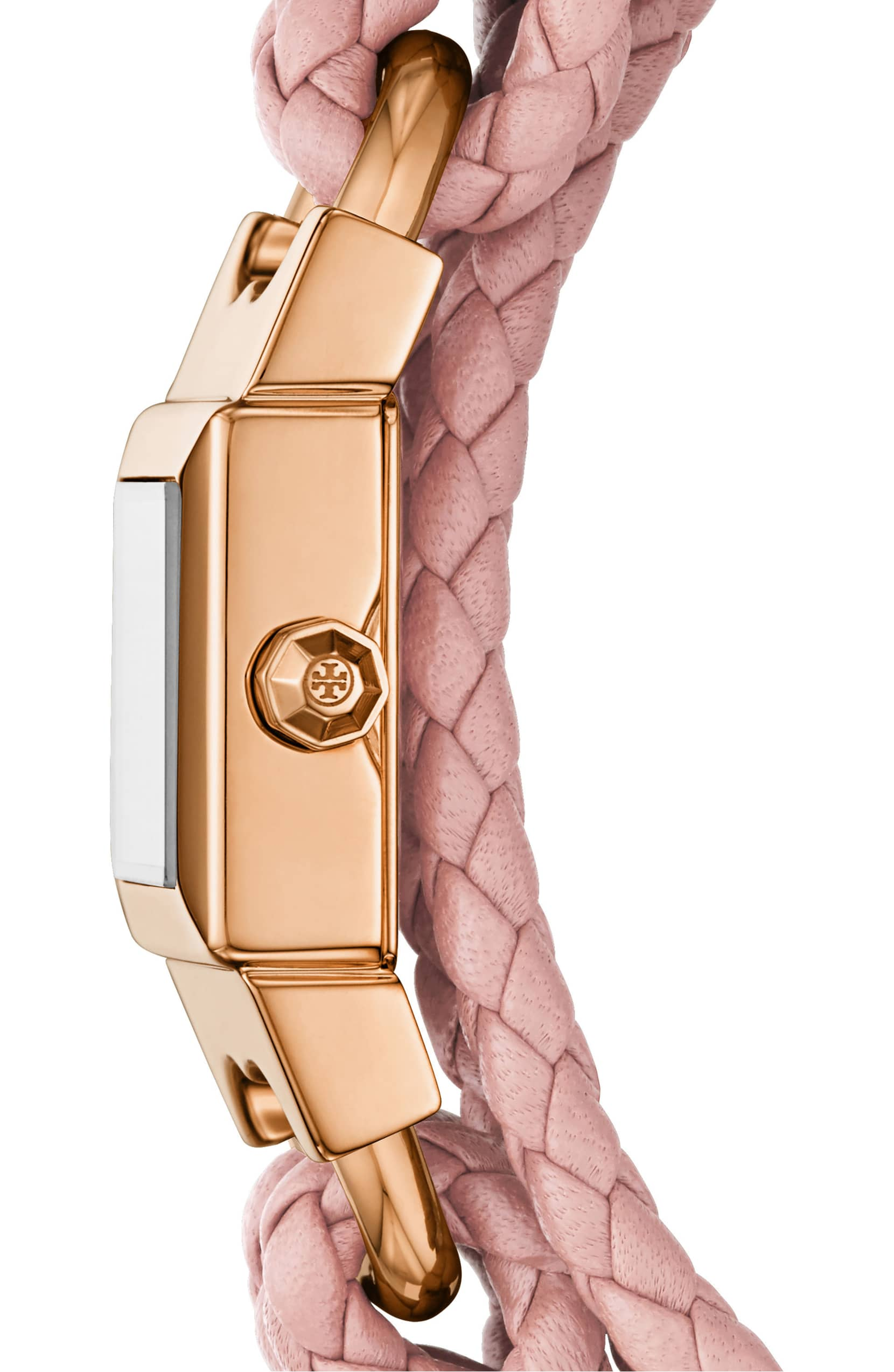 Tory Burch Gemini Link Square Leather Strap Watch