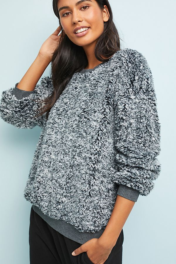 anthropologie fuzzy sweatshirt sweater