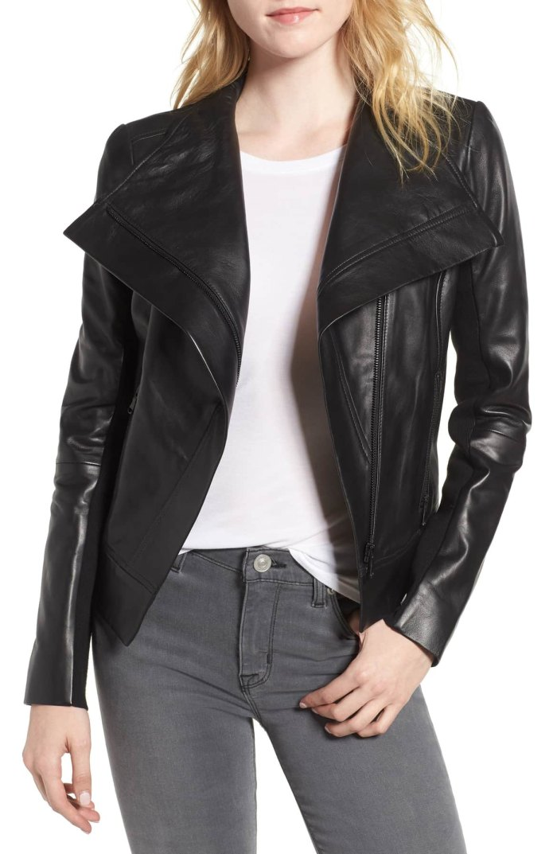 black drape jacket trouve lambskin nordstom