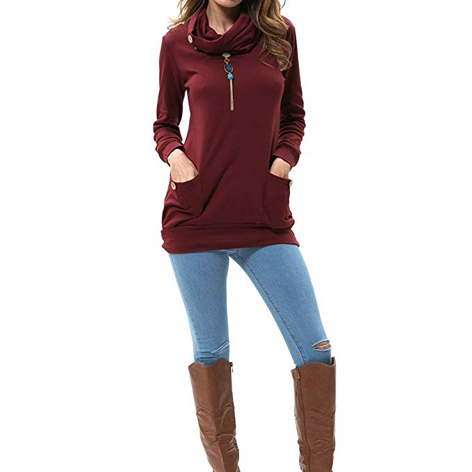 burgundy cowl neck top