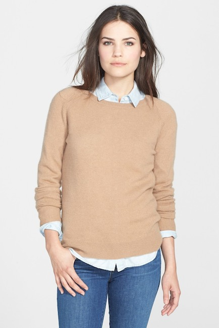 nordstrom crewneck cashmere sweater heather dark camel halogen