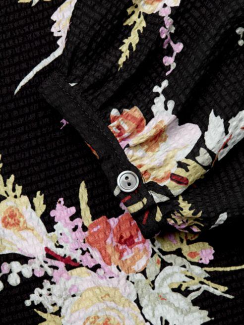 dark floral print blouse close up saks