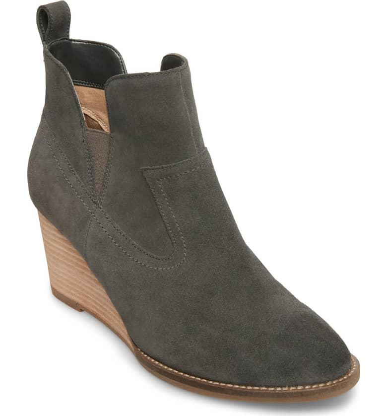 dark grey suede wedge booties