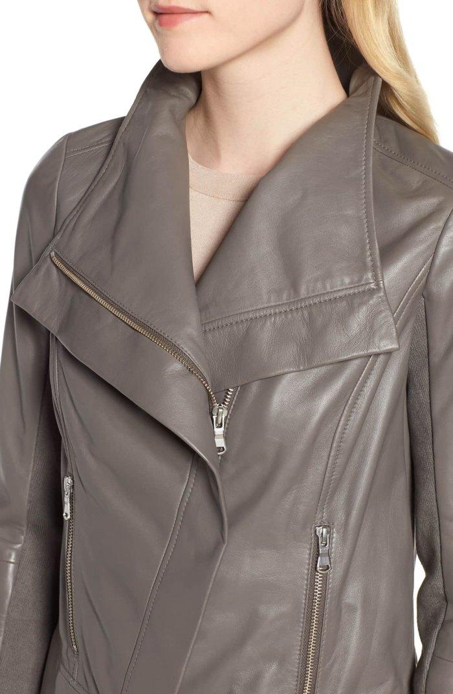 drape front leather jacket trouve