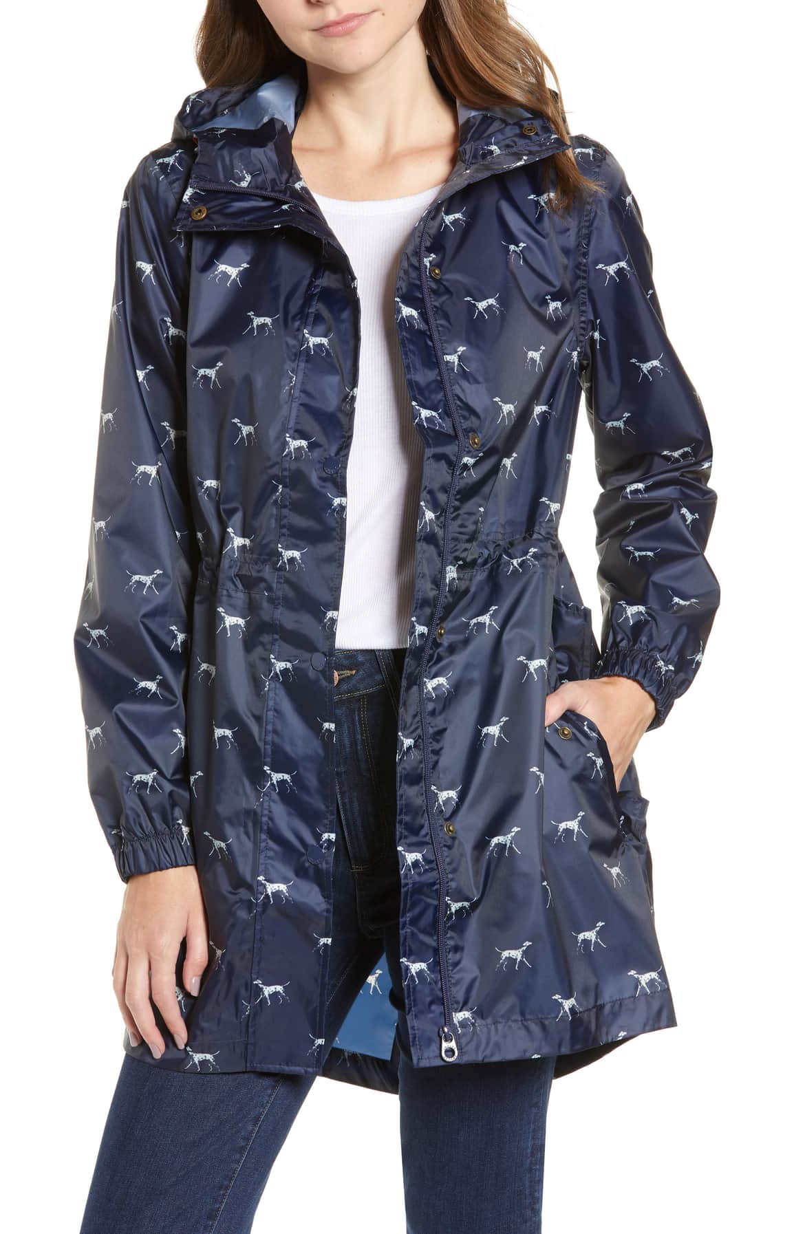 french navy dalmation joule hooded raincoat