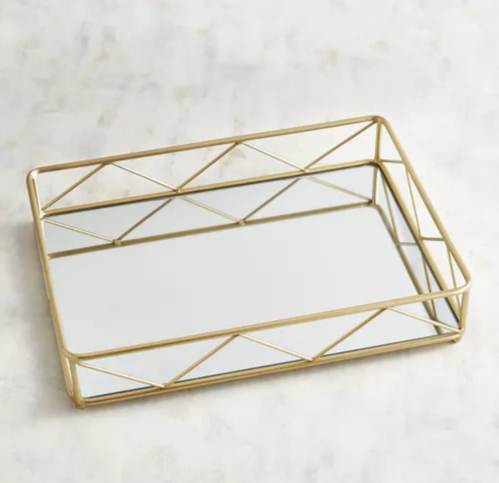 golden mirror tray