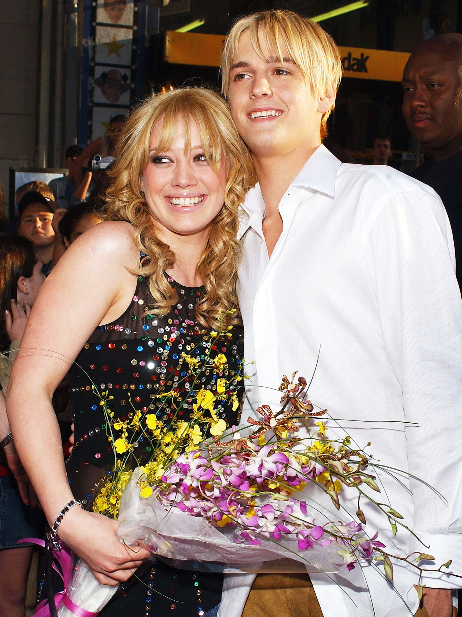 Hilary Duff Through The Years Aaron Carter 2003 - In 2003, Duff dated Nick Carter's kid brother Aaron. After the duo split, Aaron dated fellow Disney star Lindsay Lohan.