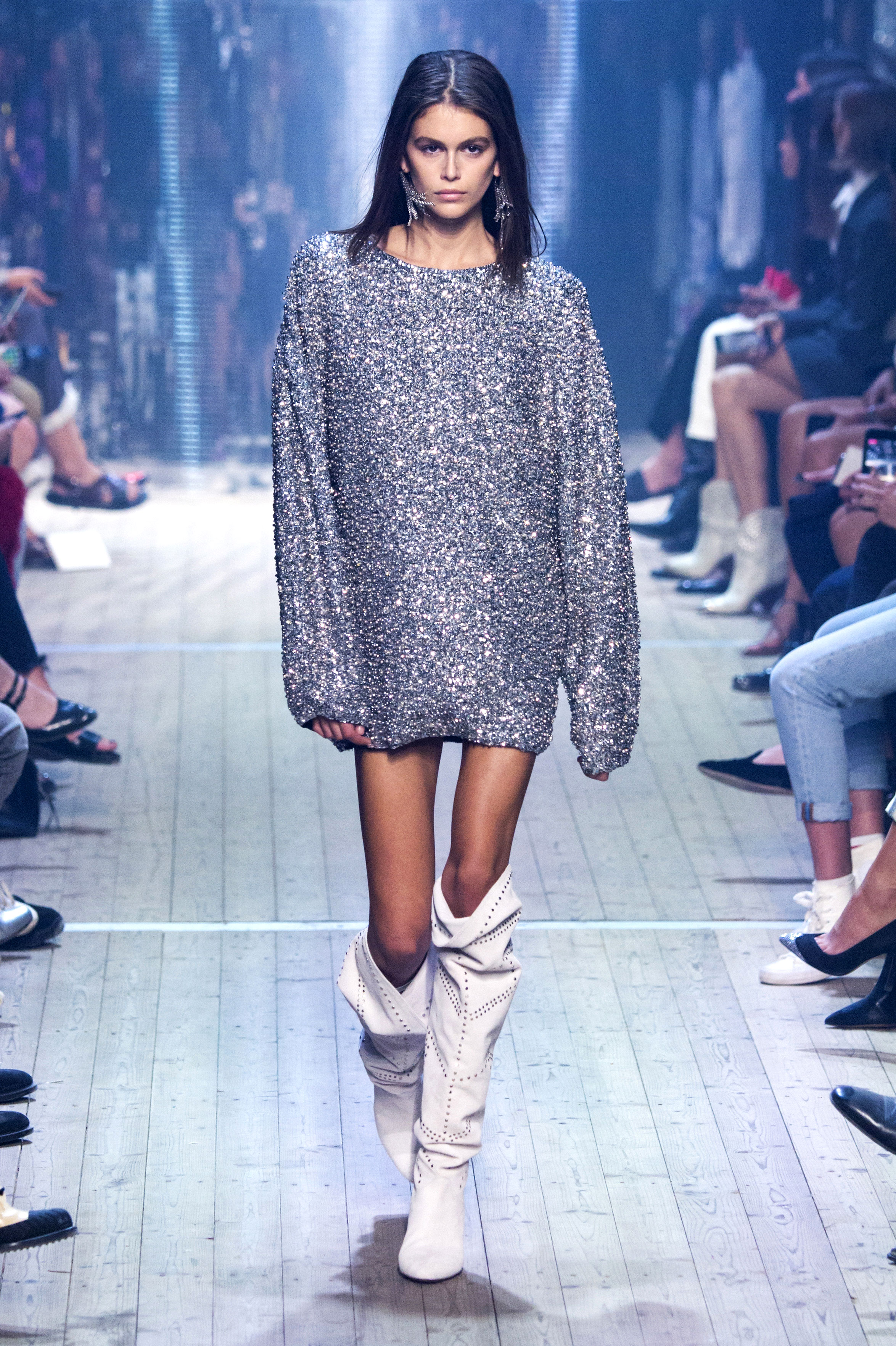 Kaia Gerber - Gerber walked the Isabel Marant show in a dazzling sweatshirt and knee-high boots during Paris Fashion Week.