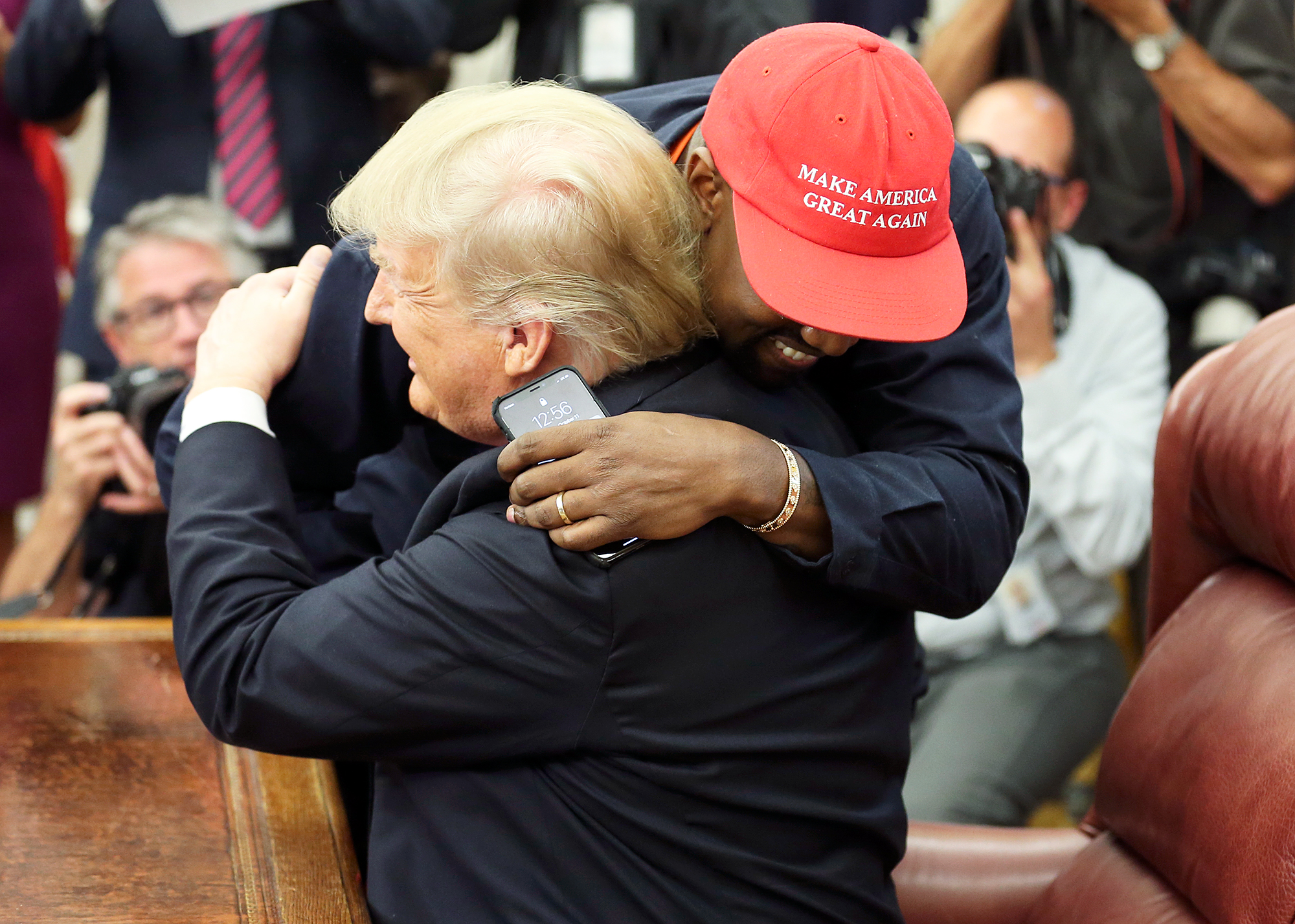 Kanye West Donald Trump White House Hug